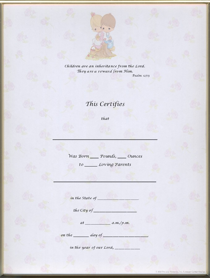 Search results for precious moments templates calendar for Boy birth certificate template