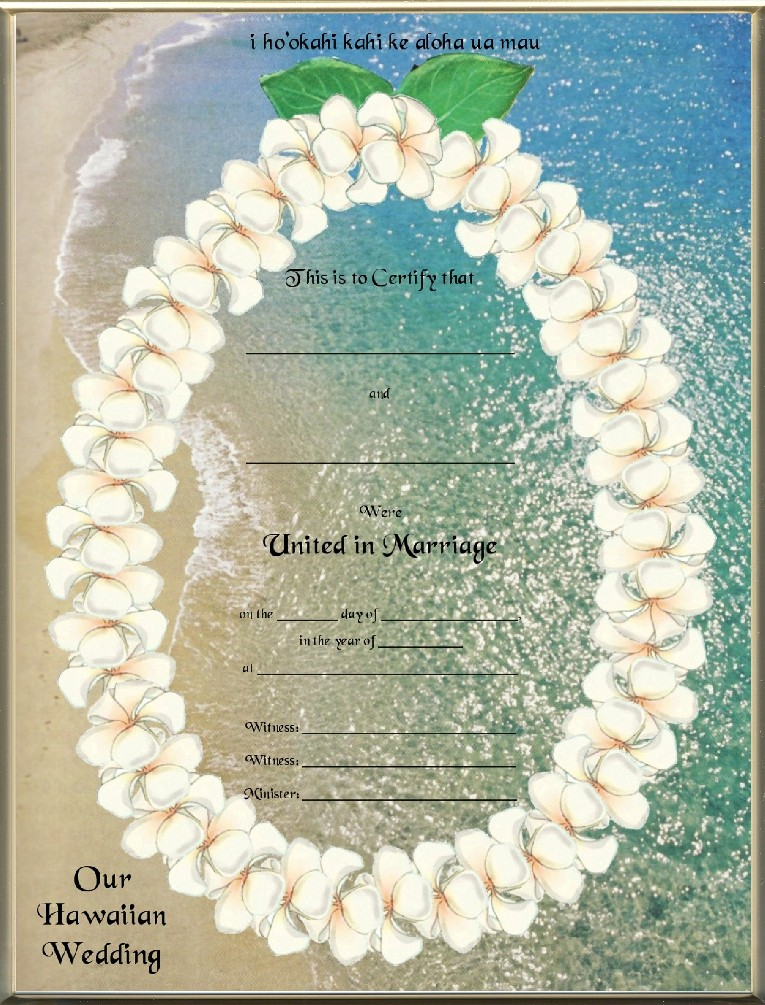 Keepsake Destination Wedding 85 X 11 Inch Certificate Hawaiian