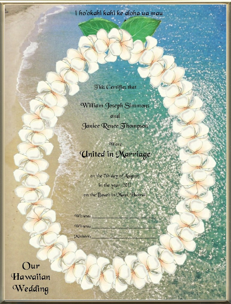 Keepsake Destination Wedding 8.5 x 11 inch Certificate - Hawaiian ...