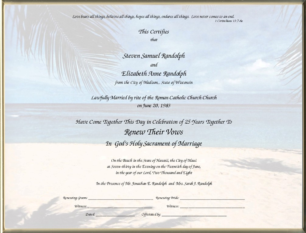 Vow Renewal Certificate Template Free Printable Vow