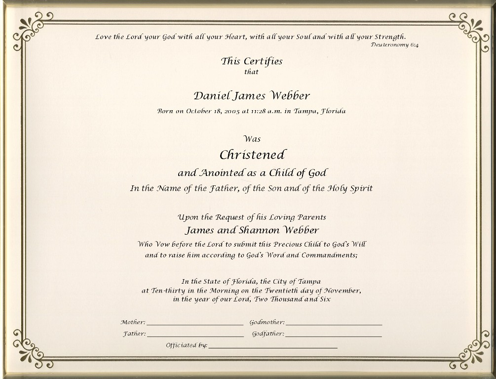 Christening Certificates - Page 1 Foil