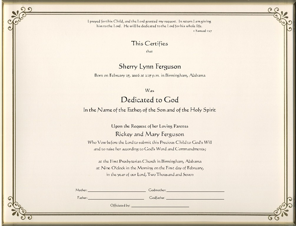 Keepsake Dedication  X  Inch Certificate  Gold Border Printed