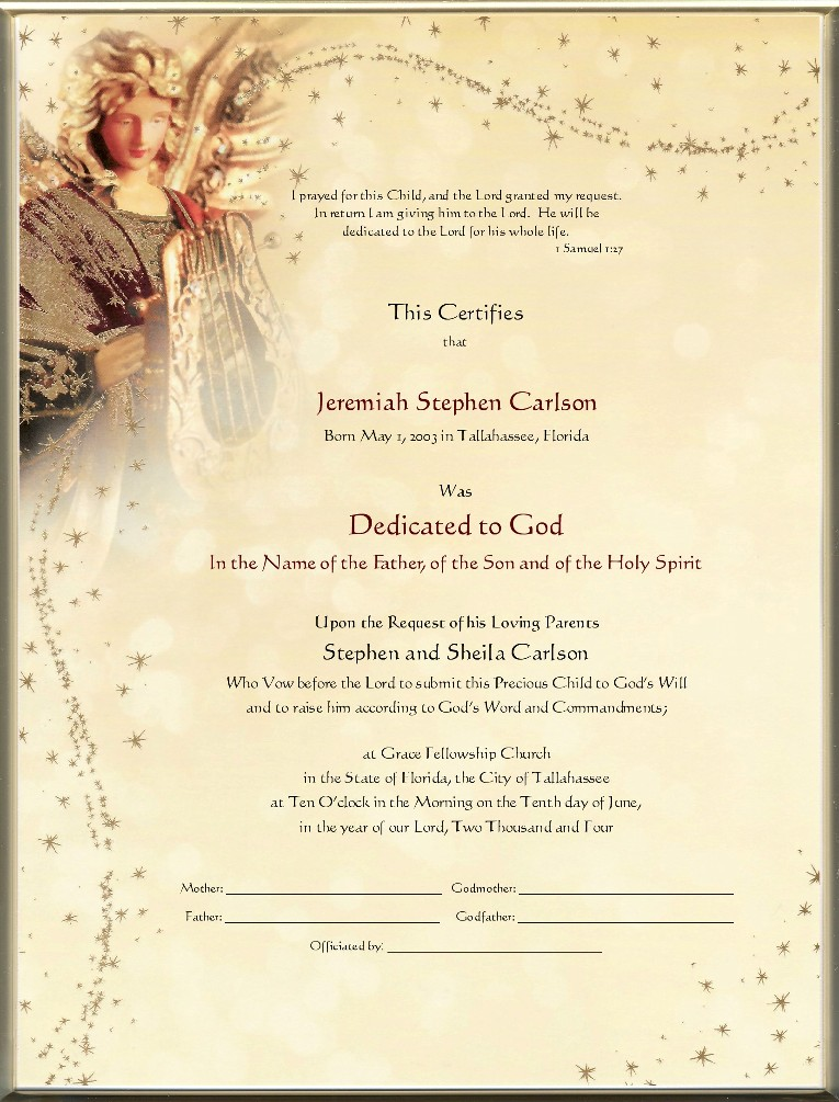Keepsake Dedication 8.5 X 11 Inch Certificate - Golden Angel