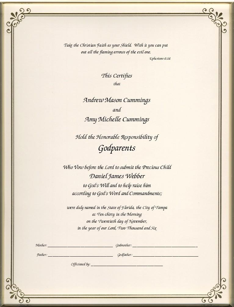 Godparent Certificates Page 1 Foil