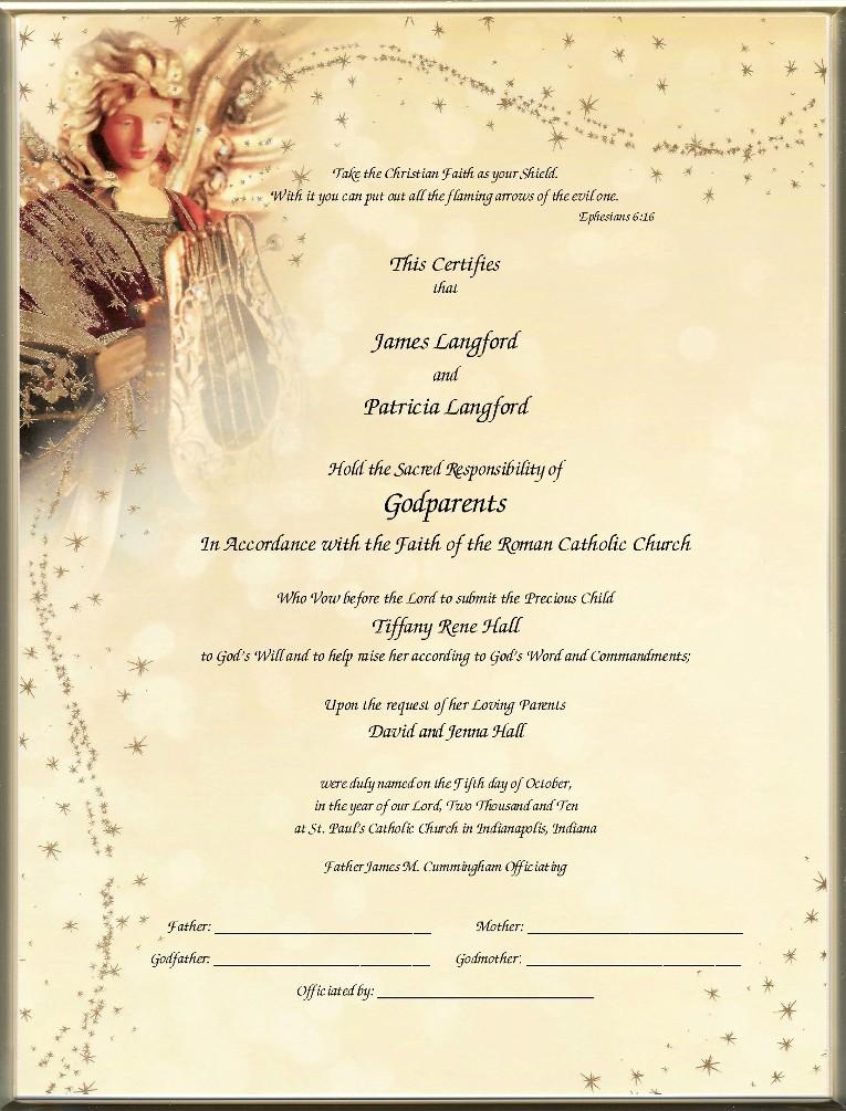 Catholic Godparent Certificates - Page 1 Foil