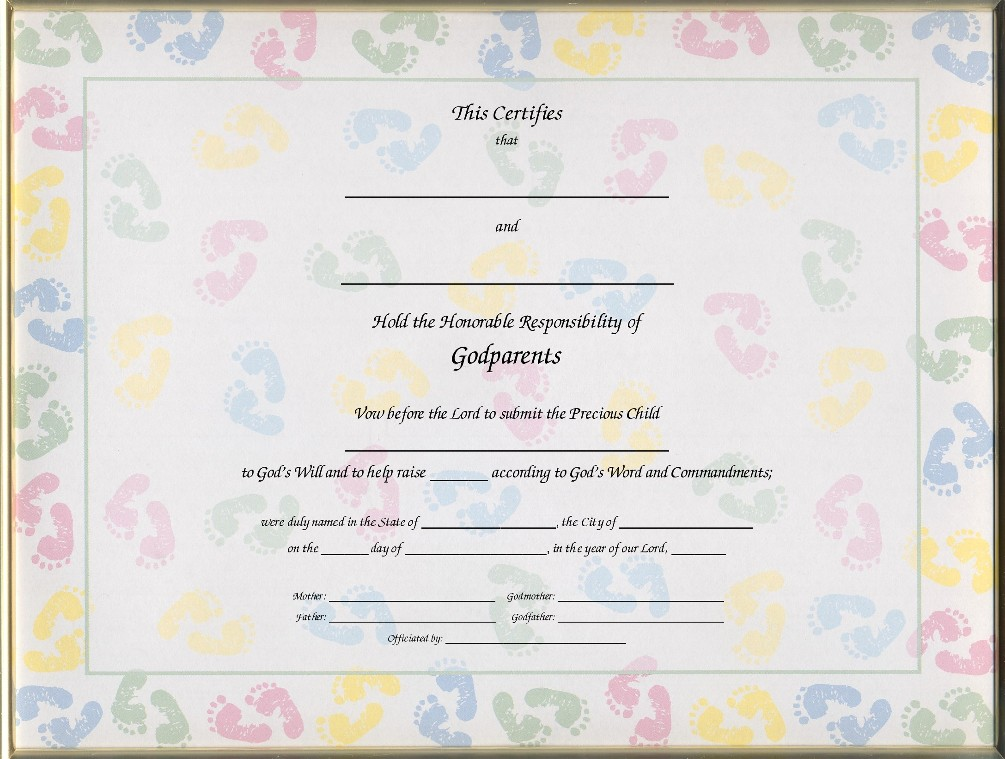 Keepsake Godparent 85 x 11 inch Certificate Baby Feet Blank – Baby Dedication Certificates Templates