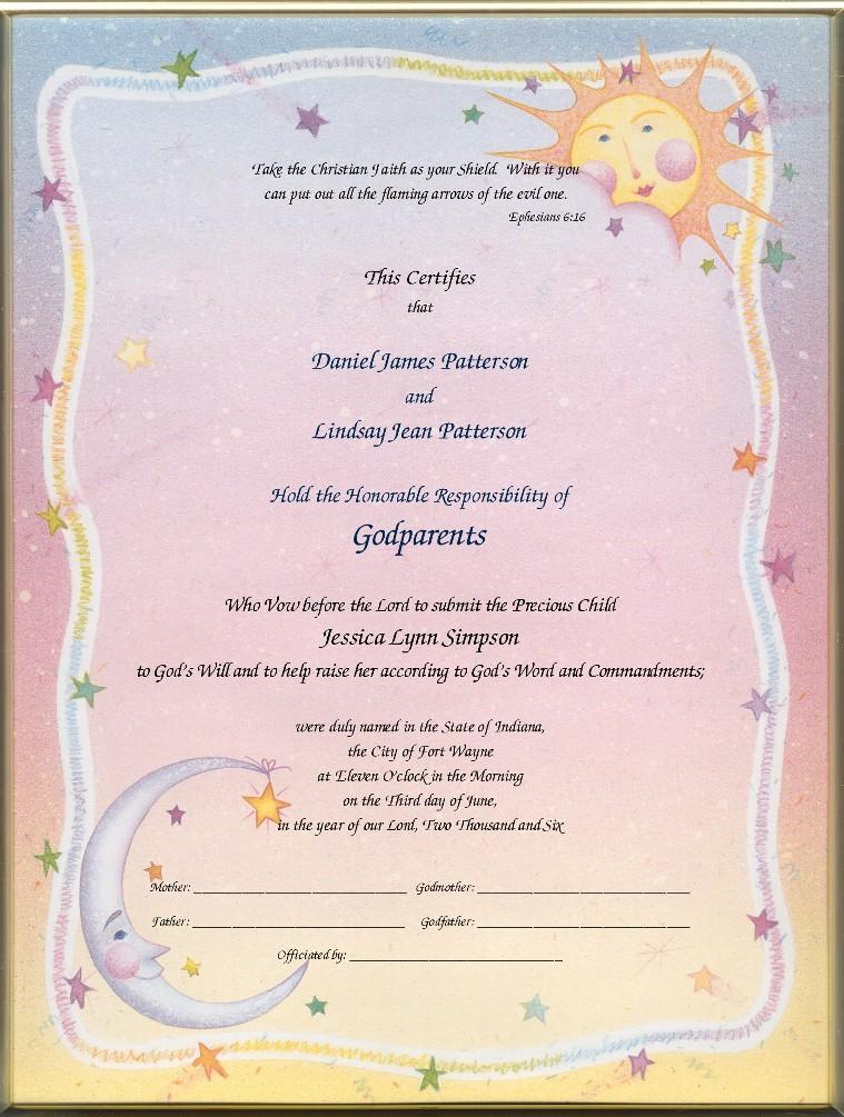Keepsake Godparent 85 X 11 Inch Certificate Heaven Sent Printed