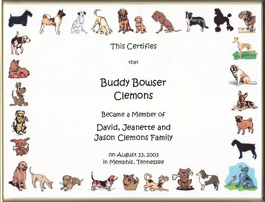 Dog Adoption Certificates Main Page