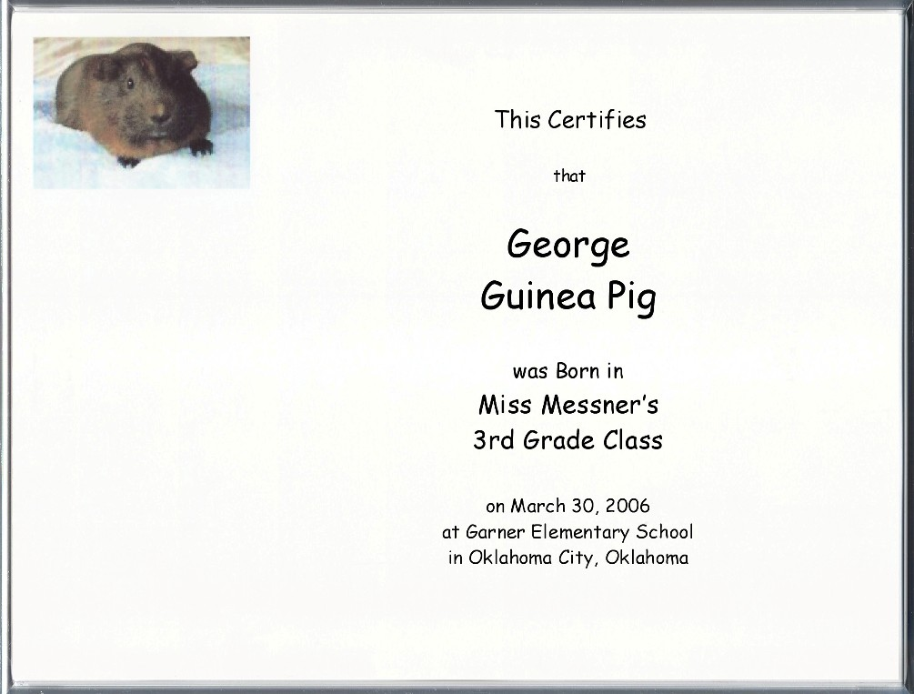 Other Pet Birth Certificates Page
